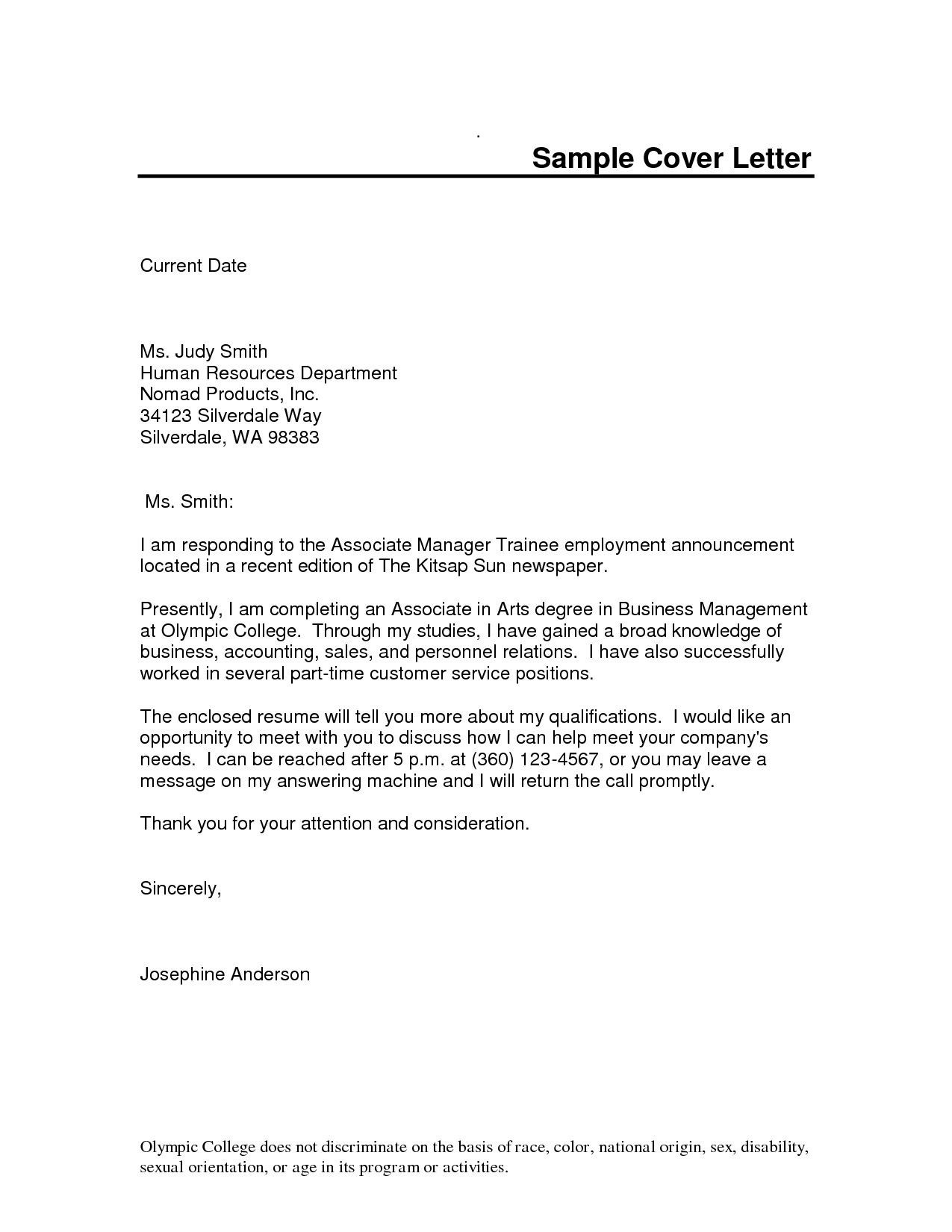 cover letter sample for job application in word format