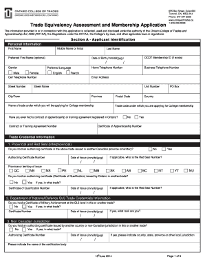 trade equivalency assessment and membership application form