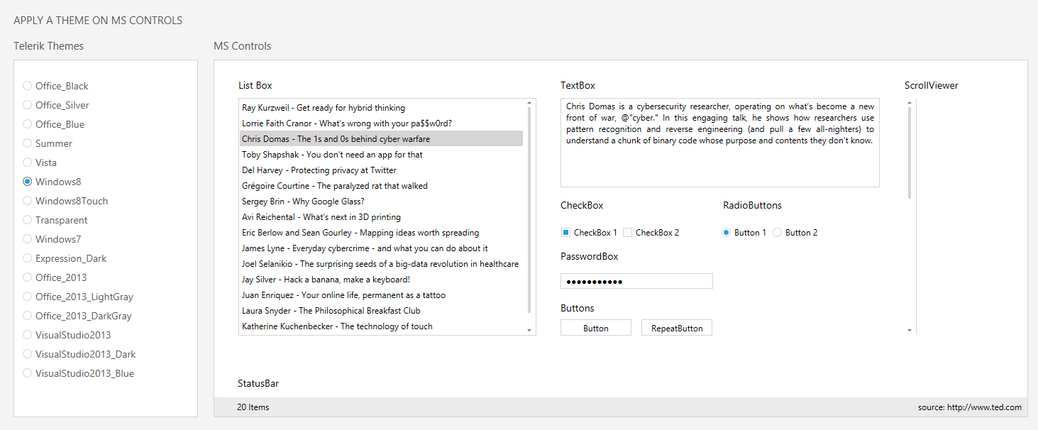 how to apply themes in wpf application