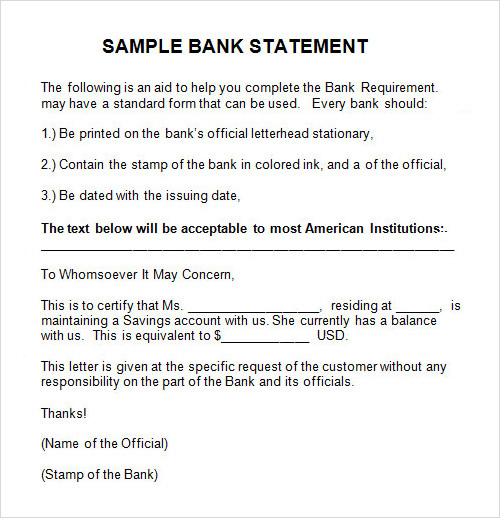 application for bank statement request letter format in word