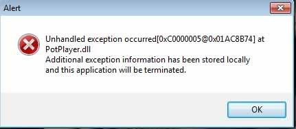 unhandled exception has occurred in your application