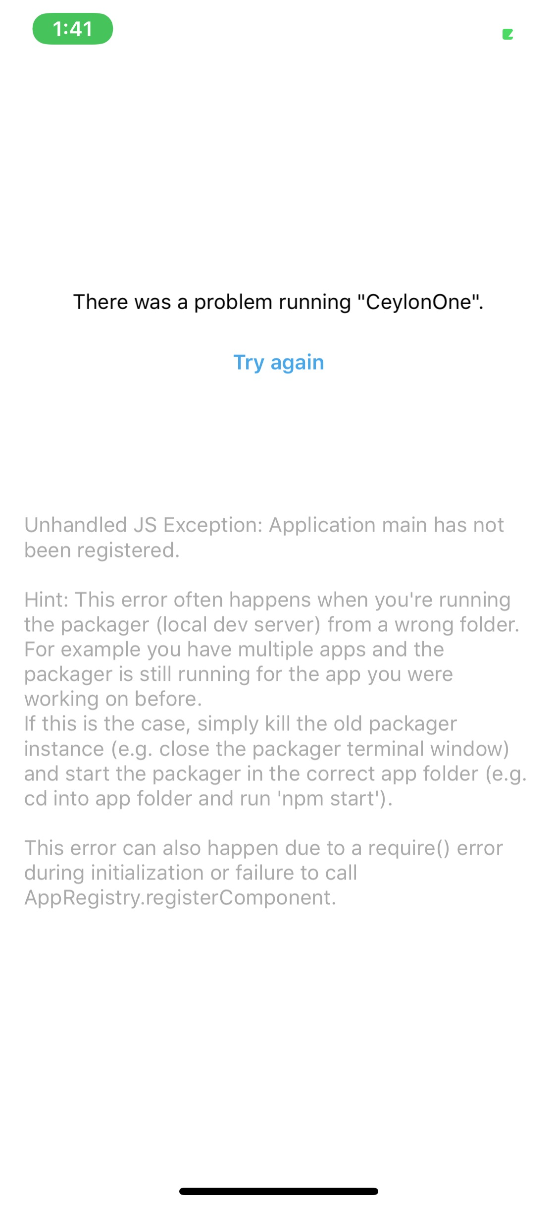 unhandled exception error occurred in your application