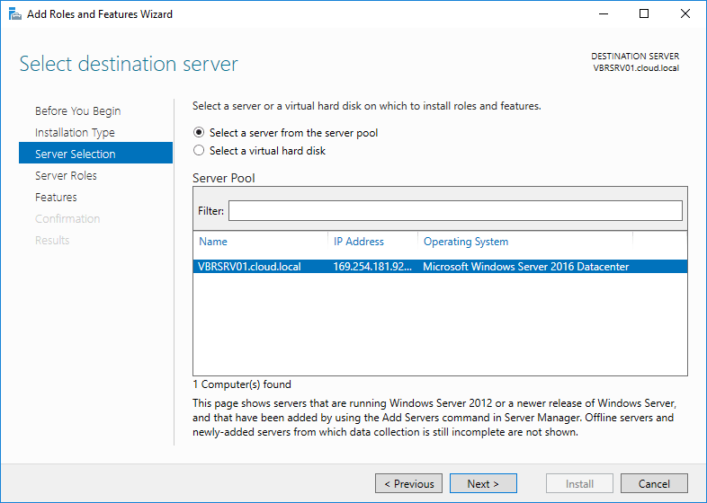 how to install application server role in windows server 2016