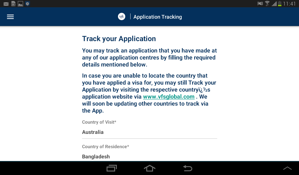 vfs global track application italy